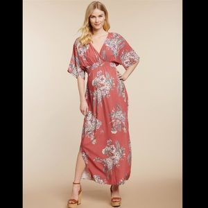 Jessica Simpson Maternity Pink Floral Maxi Dress